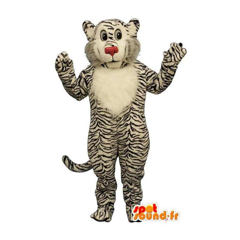 Mascotte de tigre blanc zébré de noir. Costume tigre - MASFR006825 - Mascottes Tigre
