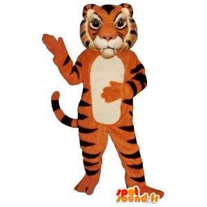 オレンジ色の虎のマスコット、黒と白