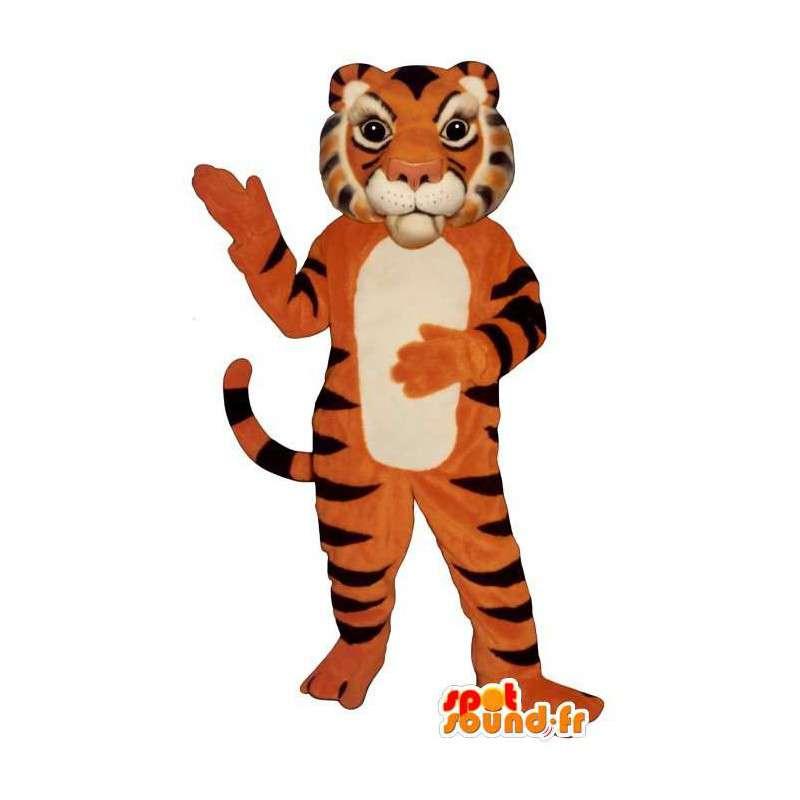 Oranžové tygr maskot, černá a bílá - MASFR006830 - Tiger Maskoti