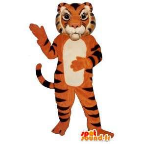 Tiger mascot orange, black and white - MASFR006830 - Tiger mascots