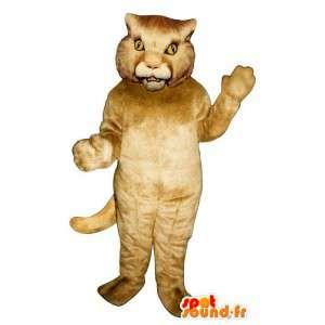 Mascotte de lion beige. Costume de tigre beige