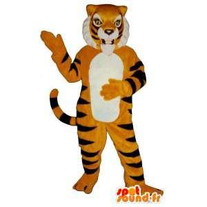 オレンジ色の虎は、黒のスーツストライプ