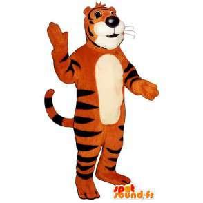 Oranžové tygr pruhovaný černý maskota - MASFR006834 - Tiger Maskoti