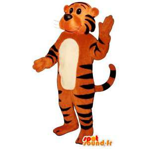 Mascot orange tiger striped black. Costumes Tiger