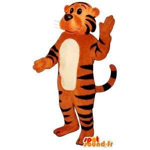 Mascotte de tigre orange zébré de noir. Déguisement de tigre