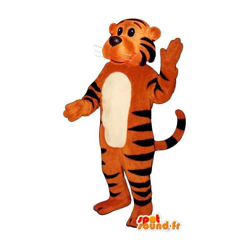 Mascot orange tiger striped black. Costumes Tiger - MASFR006835 - Tiger mascots