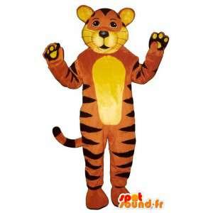 Gele tijger mascotte, oranje en zwart