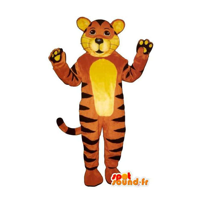 Mascotte de tigre jaune, orange et noir - MASFR006838 - Mascottes Tigre
