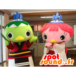2 mascotte di uccelli colorati, rosa e verde - MASFR25916 - Yuru-Chara mascotte giapponese