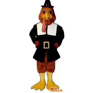 Bruin kalkoen mascotte met een zwarte jas - MASFR006847 - Mascot Hens - Hanen - Kippen