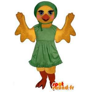 Kanarie mascotte in groene jurk. Costume kanarie