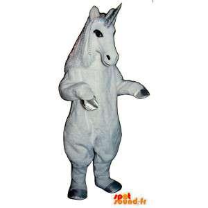 Hvit enhjørning maskot. Unicorn Costume