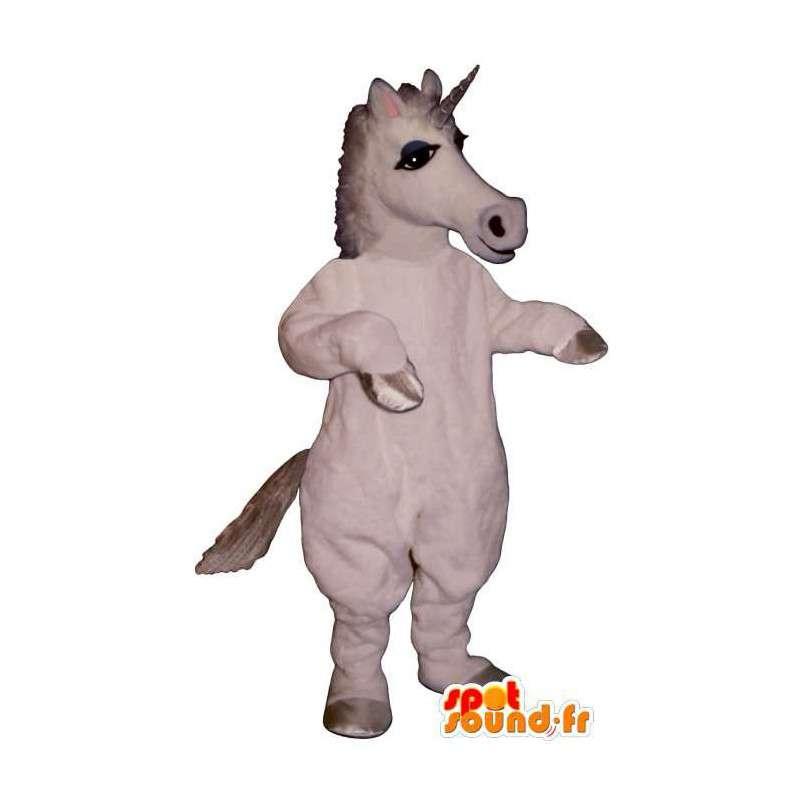 Mascot white unicorn. Unicorn Costume - MASFR006864 - Missing animal mascots