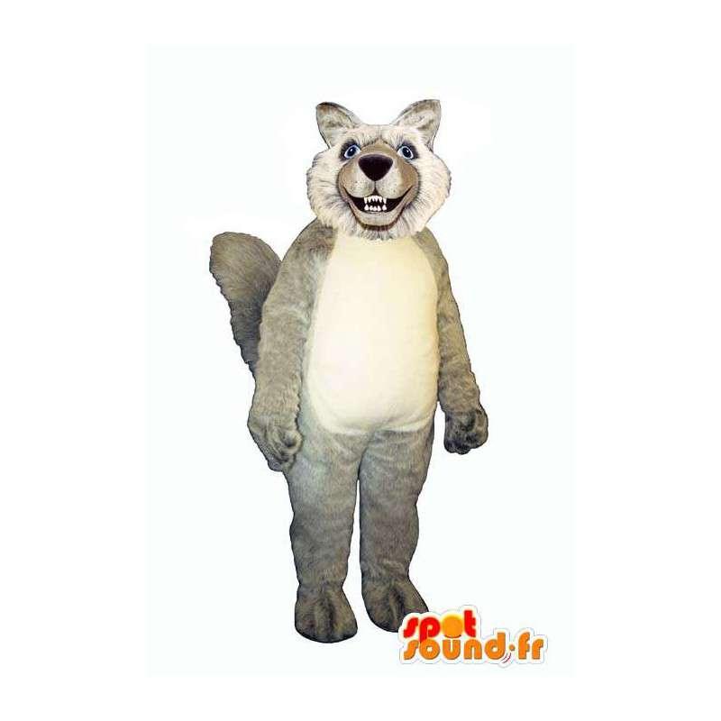 Mascotte de loup poilu, gris et blanc - MASFR006867 - Mascottes Loup