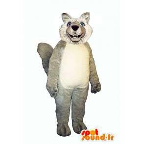 Wolf-Maskottchen behaarten grau und weiß - MASFR006867 - Maskottchen-Wolf