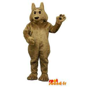 Hnědý vlk maskot, jemná a chlupatá