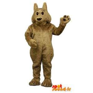 Marrom lobo mascote, macio e cabeludo
