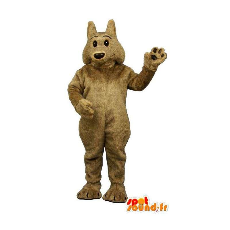 Brązowy wilk maskotki, miękki i włochaty - MASFR006868 - wilk Maskotki