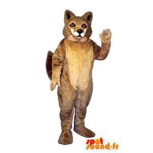 Mascotte de loup marron et poilu. Costume de loup