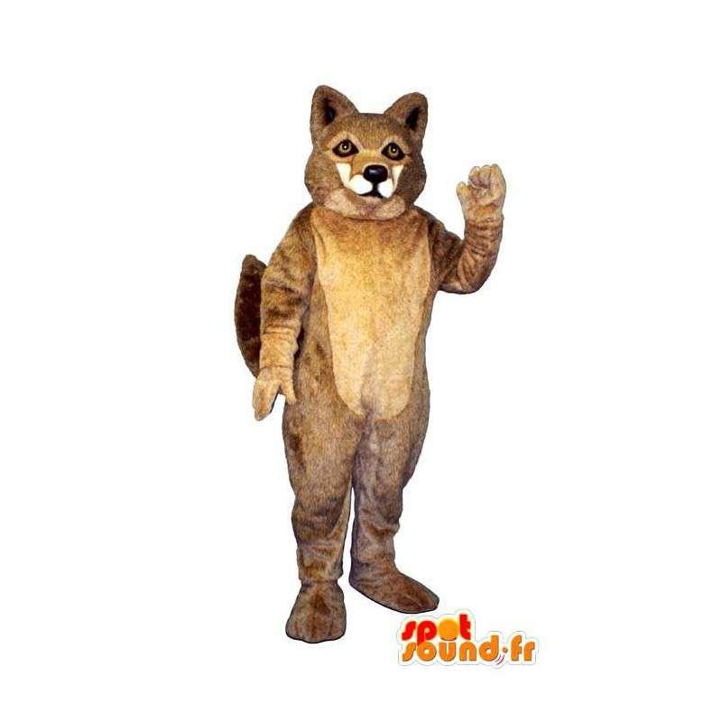 Mascotte de loup marron et poilu. Costume de loup - MASFR006871 - Mascottes Loup