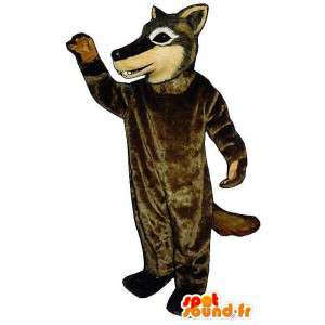 Mascotte de loup marron. Costume de loup