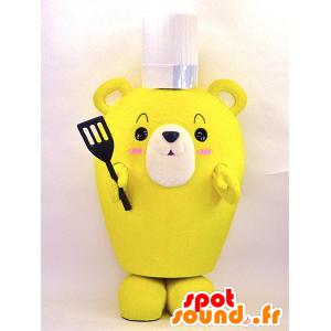 Gul kok teddy maskot - Spotsound maskot kostume
