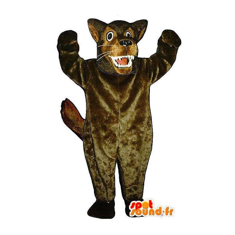 Maskottchen der große böse Wolf braun - MASFR006874 - Maskottchen-Wolf