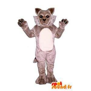 Mascotte de loup gris, doux et mignon