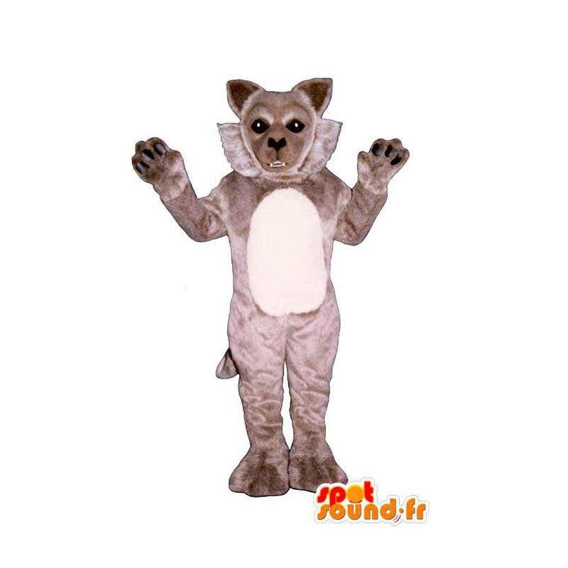 Mascotte de loup gris, doux et mignon - MASFR006875 - Mascottes Loup