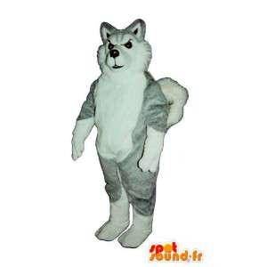 Maskotti harmaa ja valkoinen husky. susi koiran puku - MASFR006876 - koira Maskotteja
