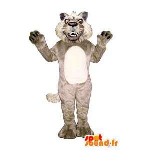 Mascotte de loup méchant, beige et blanc, tout poilu