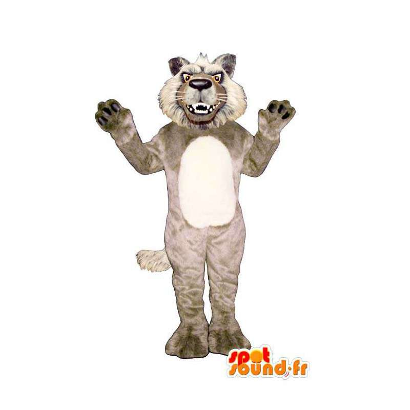 Wolf-Maskottchen böse beige und weiß und haarig - MASFR006877 - Maskottchen-Wolf