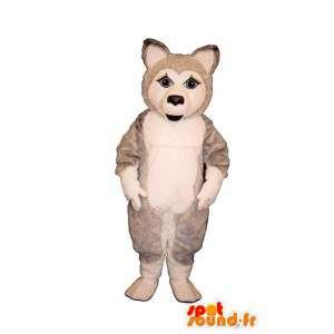 Husky hundemaskot, grå og hvid - Kostume, der kan tilpasses -