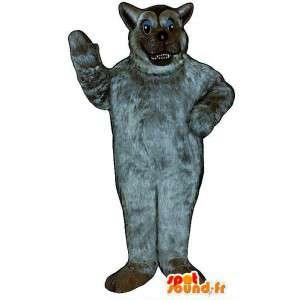 Mascot todos lobo gris peludo.Traje de lobo melenudo