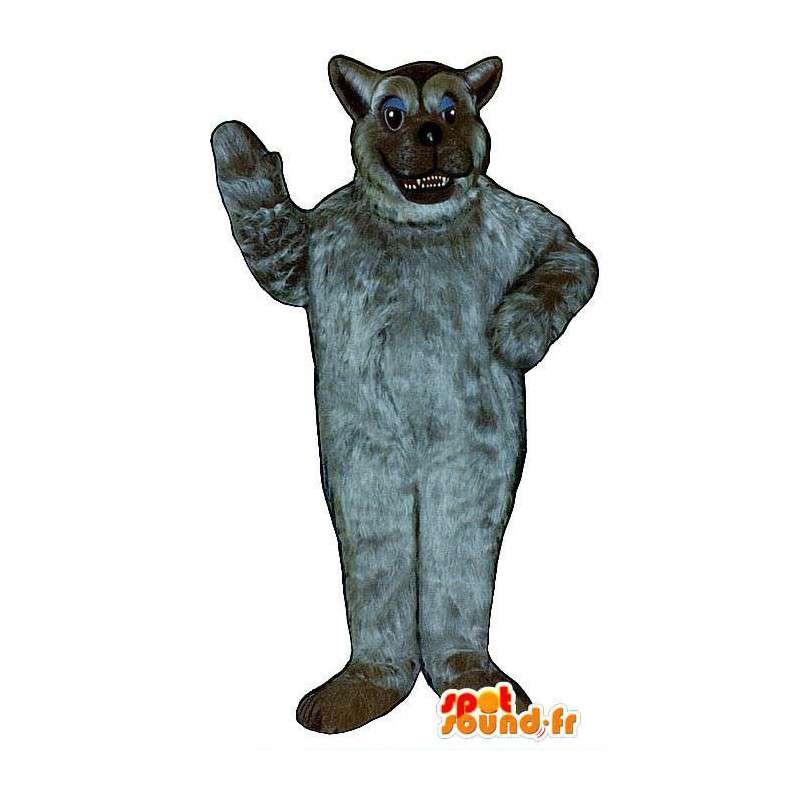 Mascotte de loup gris tout poilu. Costume de loup poilu - MASFR006881 - Mascottes Loup