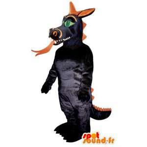 Dragon mascot black and orange. Dragon costume - MASFR006882 - Dragon mascot