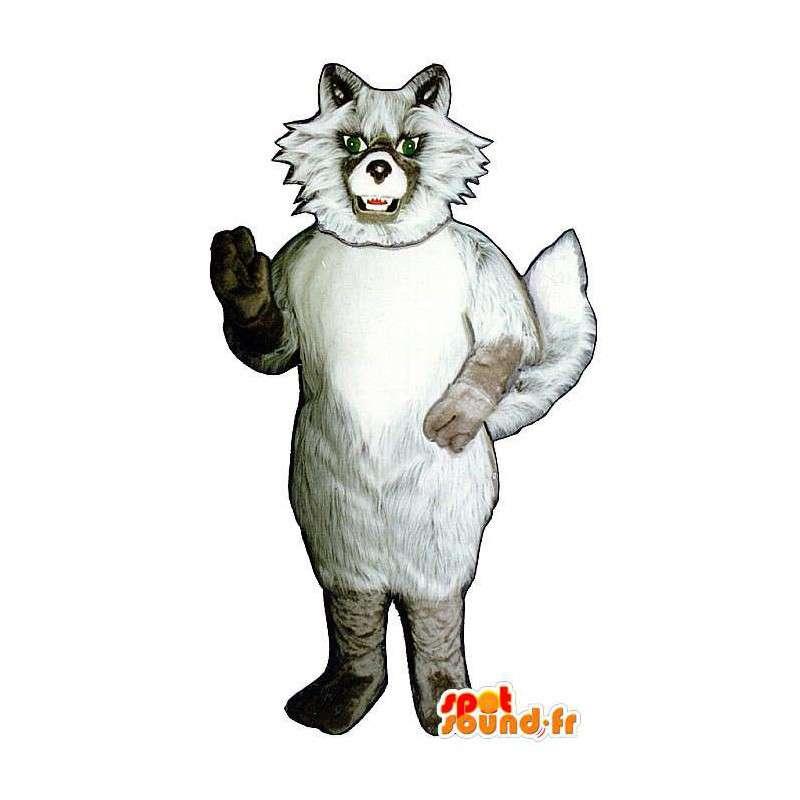 Maskotti valkoinen ja beige Wolf, kun taas karvainen - MASFR006885 - Wolf Maskotteja
