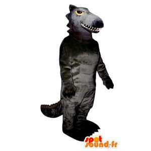 Mascotte de dinosaure noir. Costume de dinosaure