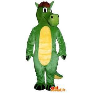Mascot groen en geel dinosaurus. draakkostuum - MASFR006892 - Dragon Mascot