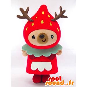 Yoshikazu Yumeno maskot formet som en gigantisk jordbær, røde erter - MASFR26152 - Yuru-Chara japanske Mascots