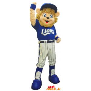 Anyb mascotte leone vestito di marrone sportiva blu - MASFR26158 - Yuru-Chara mascotte giapponese