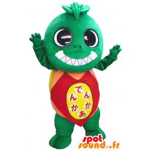 Verde mostro mascotte tutto peloso con la camicia rossa e gialla - MASFR26161 - Yuru-Chara mascotte giapponese