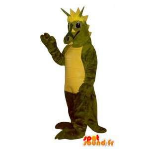 Dinosaurier-Maskottchen-grün und gelb - Kostüm anpassbare - MASFR006899 - Maskottchen-Dinosaurier