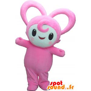 Harty mascotte, pupazzo di neve rosa, tutto peloso - MASFR26174 - Yuru-Chara mascotte giapponese