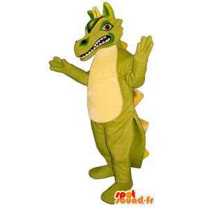 Maskotti vihreä ja keltainen dinosaurus. lohikäärme puku - MASFR006901 - Dragon Mascot