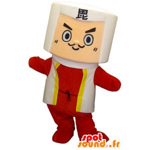 Mascotte Samurai, Ninja bianco e rosso - MASFR26282 - Yuru-Chara mascotte giapponese