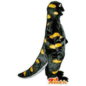 Mascotte de salamandre noire et jaune. Costume de salamandre