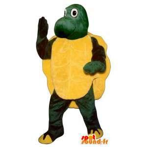 Mascot tortuga amarilla y verde.Tortuga de vestuario