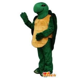 Mascotte de tortue verte et jaune - Costume personnalisable