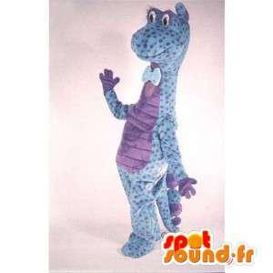Maskotti sininen ja violetti dinosaurus täplikäs - MASFR006916 - Dinosaur Mascot